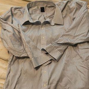 Dress button down shirt blue striped 22 34/35 slim